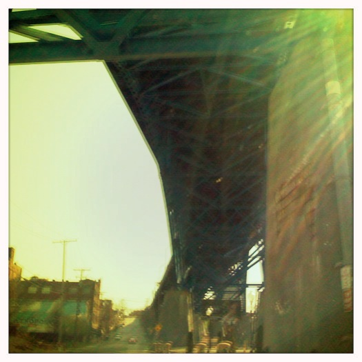 Cleveland Flats sun-drenched bridge