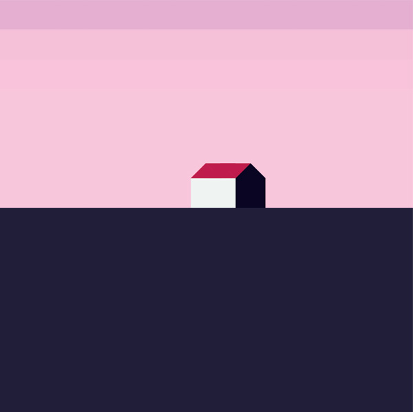 landscape with house purple sunset