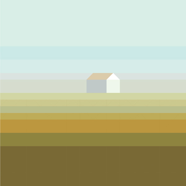 landscape with house fog
